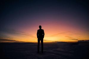 Sillhouette full body standing at sunset