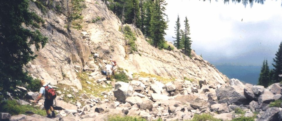 Dick Claesson, Bill Meurer, and Jeff Gee at the Middle Banded Series outcrop at Camp Lake, Stillwater Complex, MT