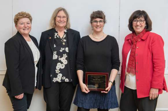 Kathryn Boor, Janice Thies, Hale Tufan and President Martha Pollack. Tufan was recognized for improving the lives of women at Cornell and internationally.