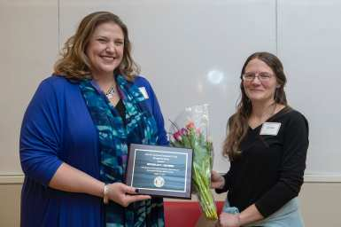 Michelle Artibee, Associate Director, Work/ Cornell Human Resources received a Cook Award for her work addressing domestic violence and the lactation needs of working mothers at Cornell. She is pictured with Liz Brundige, Cornell Law School.