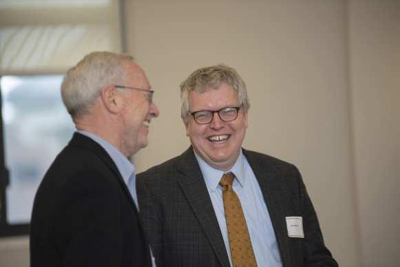 Provost Michael Kotlikoff (left) with Lorin Warnick, Ostin O. Hooey Dean of Veterinary Medicine.