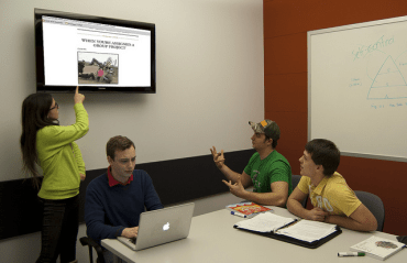 Photo of students working in a group