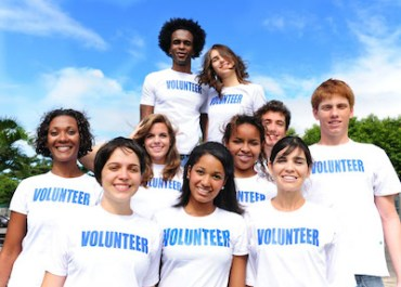 Photo of students wearing volunteer t-shirts