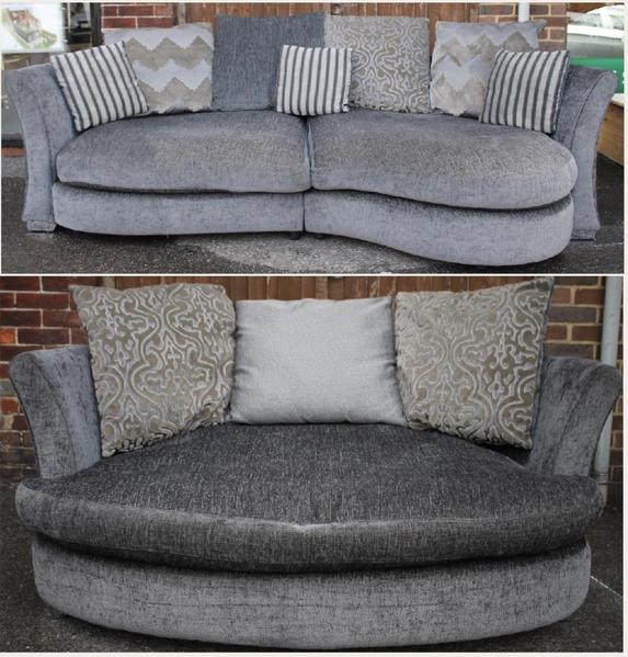 grey dfs curved sofa love seat in