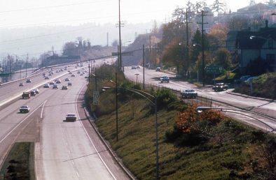 I-5 South from Ross Island Bridge. April 1974