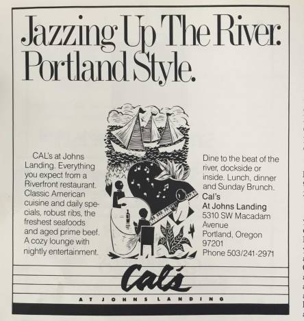 """Ad for Cal's Johns Landing. """"Dine to the Beat of the River"""""""