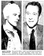 """Wayne E. Miller (left) had his Head swathed in bandages, His shirt bloodied, while John Williams, a Tavern patron who helped subdue Miller, was all smiles."" (1954, Jan 1). Oregonian"