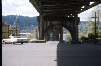Under the St. Johns Bridge, Portland, OR. April 1977