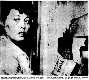 """Caption: """"Maxine Piwarchuck, 8926 N. Polk St., waitress, holds heavy can of ham with which Martin Becker battered a hole in insulated lining of cooler at Arrow Cade, 3010 NW Nicoli St., where he was trapped overnight. He dided Tuesday in hospital."""" Photo: Oregonian."""