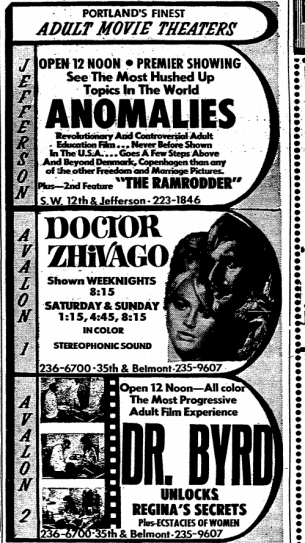 "Competition was stiff among the local adult theatres. Here are listed ""Portland's Finest"" (1970, Oct 24). The Oregonian, p. 11."
