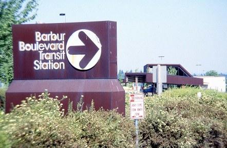 Original signage for Barbur Transit Center. Portland, 1979