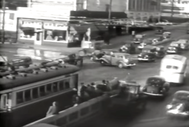 This still clearly shows the two platforms serving the area. c. 1945