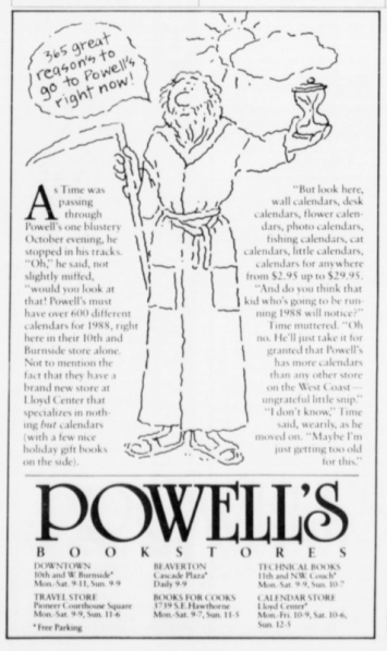 Powell's Bookstores ad. Must have used the same commercial artist as Red Bull. Portland, OR. 1987