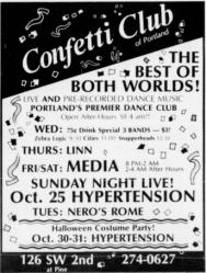 Ad for Confetti Club. Portland, OR. 1987