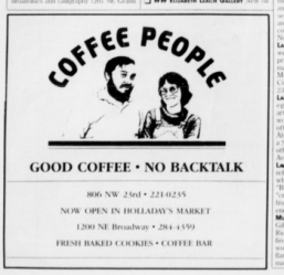 Ad for Coffee People. Portland, OR. 1987