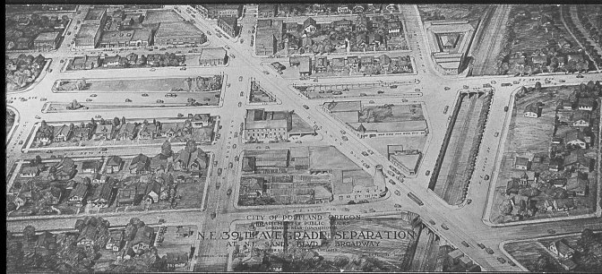 Grade separated interchange, Sandy and 39th Ave, Portland, OR. c.1930s