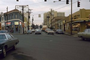 Sandy Blvd at NE Broadway, looking East. Portland, OR. January, 1977