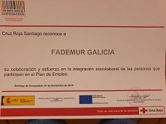 La Cruz Roja de Santiago de Compostela reconoce la labor de FADEMUR