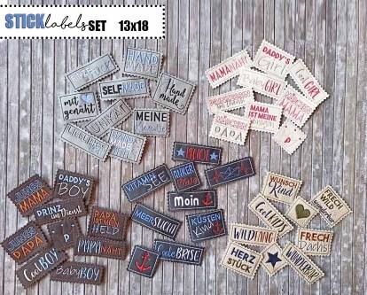 Stickdatei Labels Set Aufnäher