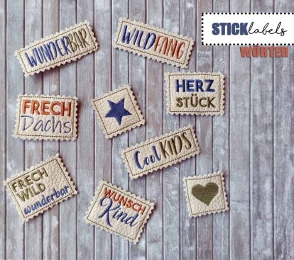 Stickdatei Labels Wörter Set