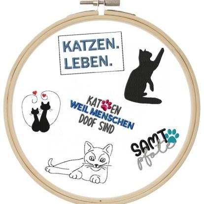 Katzen Motive Stickdatei Impfpass