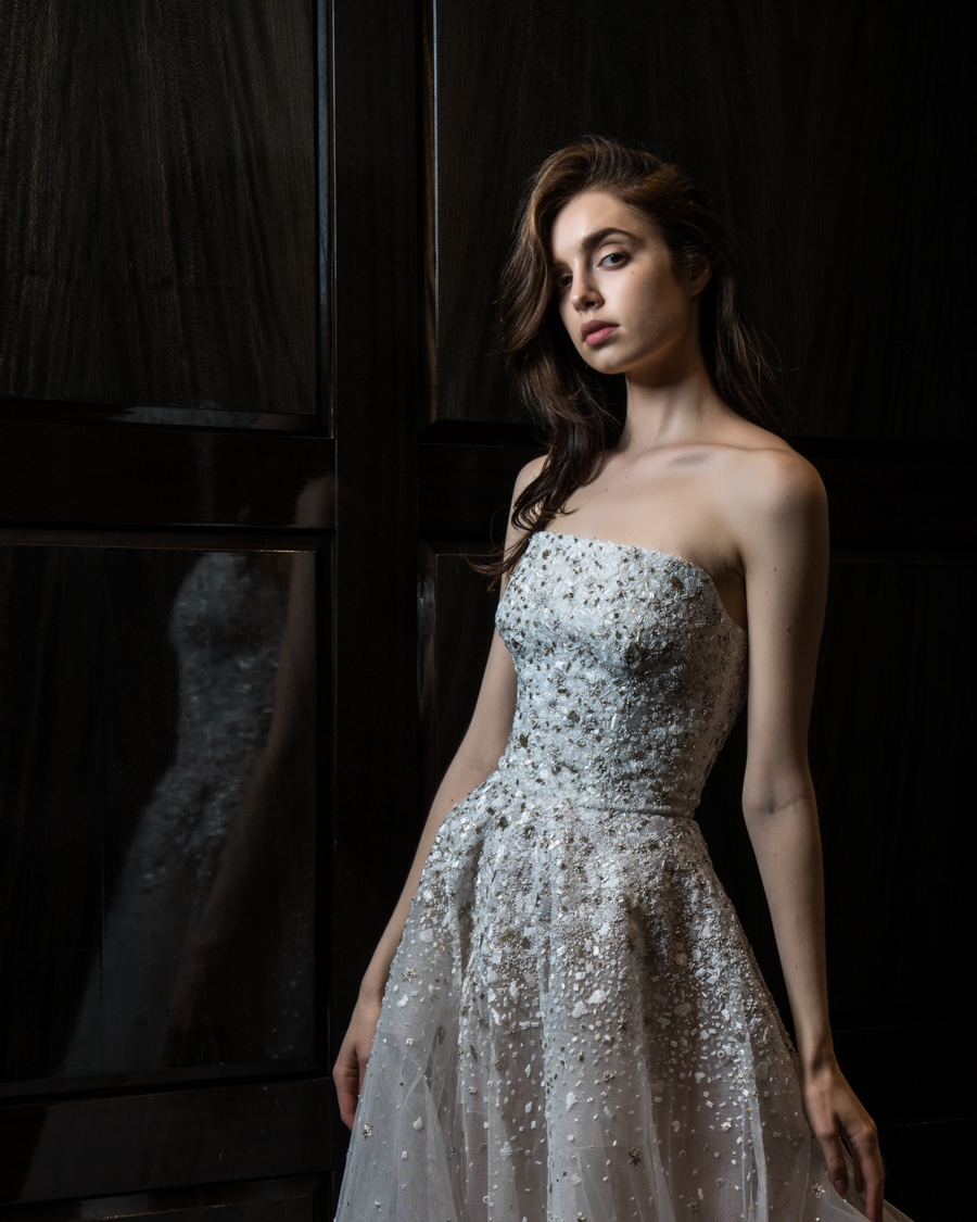model in bridal gown at Tiffany's store