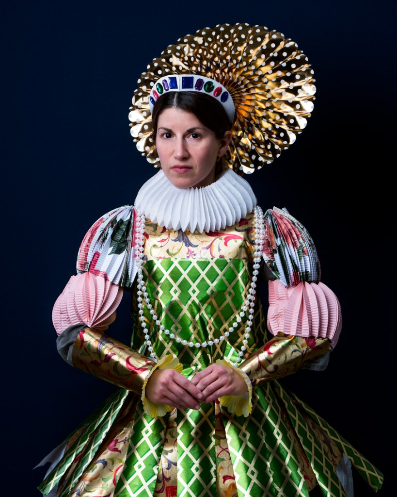 woman in gift wrapping paper elizabethan costume