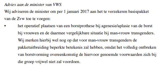 Knipsel uit het advies aan de minister van VWS.