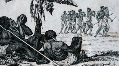 Représentation de la traite des esclaves dans l'île de Gorée.