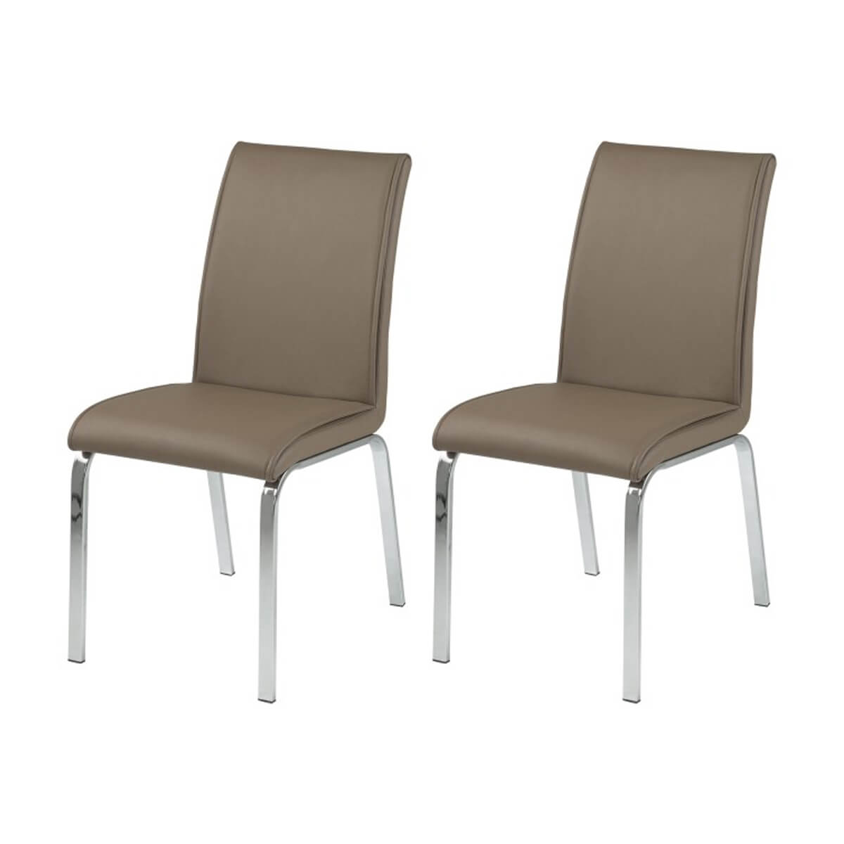 Beige Leather Dining Chairs Leonora Taupe Faux Leather Dining Chairs Pair