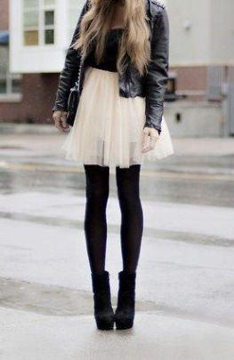 White tulle feminine miniskirt worn with black leather and black tights   Chai High is an Indian Fashion Blog started by Shivani Krishan