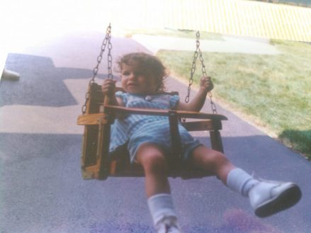Another of baby me swinging.