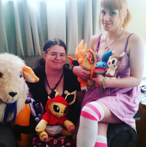 February 2016 - My best friend and I with our Pokemon plush.