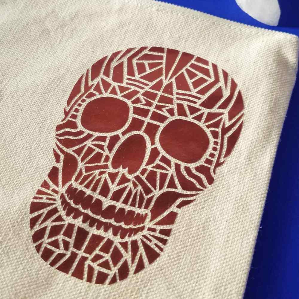 Skull Canvas Accessory Pouch