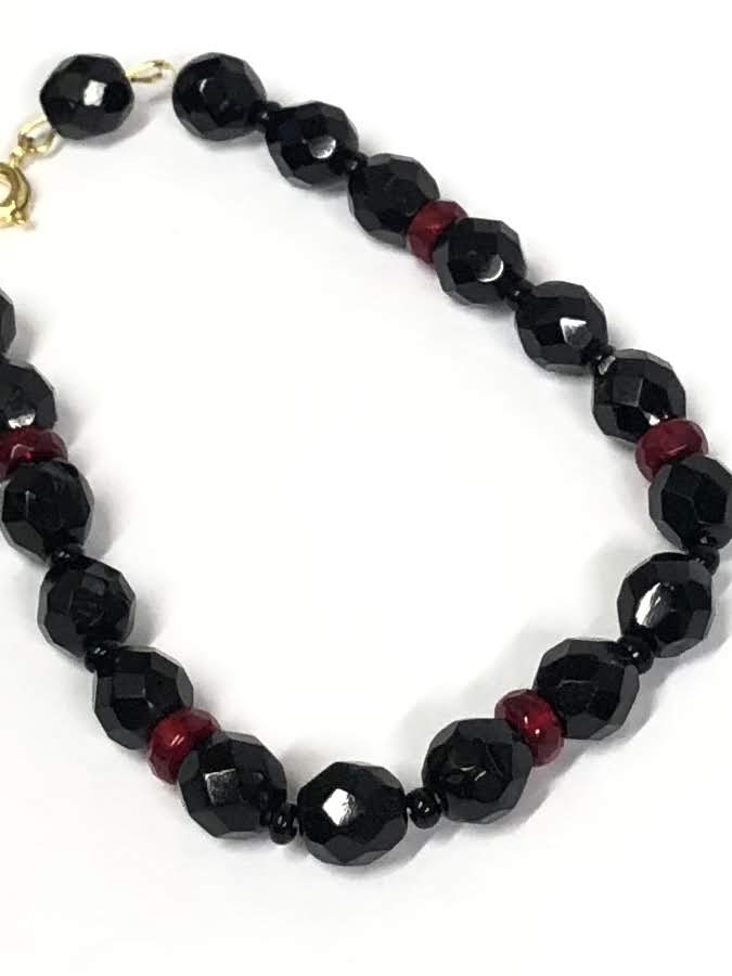 black and red glass beads