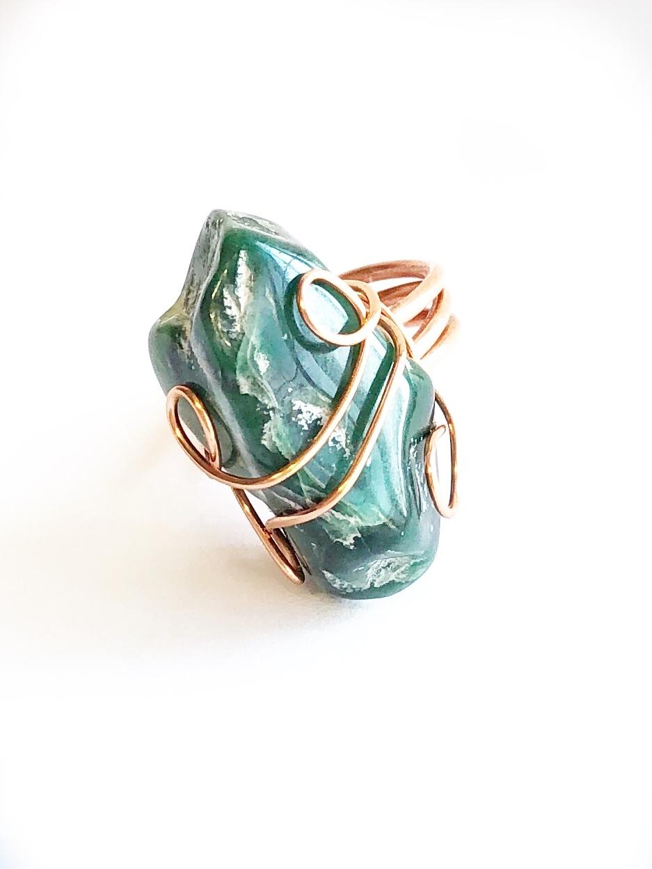 malachite and copper ring