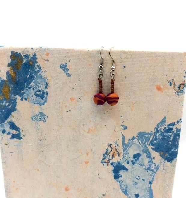 orange and brown earrings