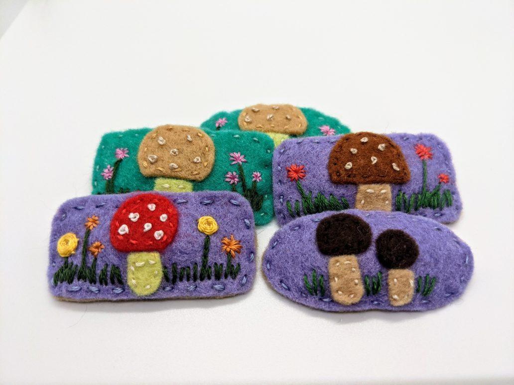mushroom barrettes