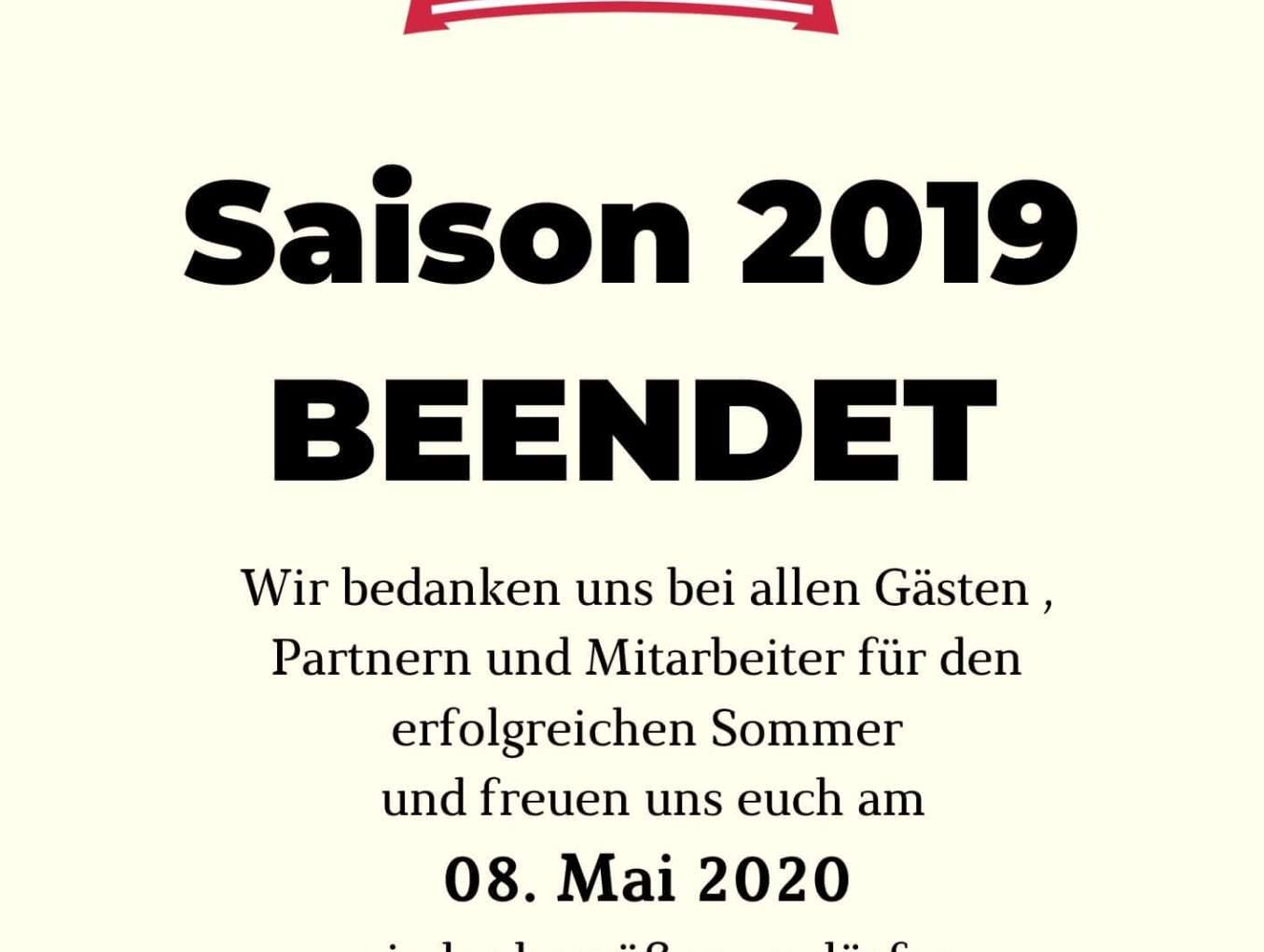 Saison 2019 beendet