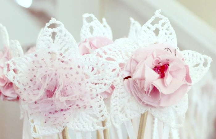 Fairy want craft with diy fabric flowers for a homemade toy.#faeriesandfauna #fairy #fairyparty #crochettoys #lovehandmade
