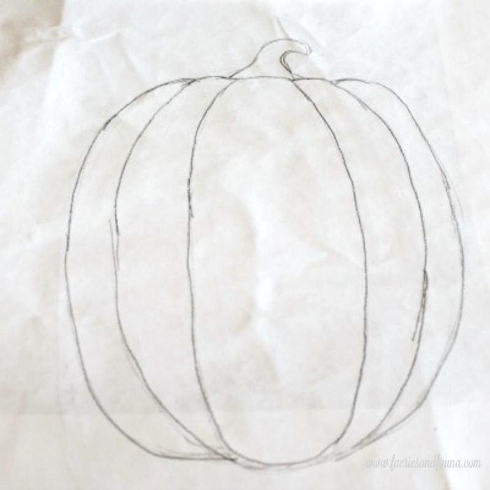Pumpkin outline as part of a how to paint a pumpkin tutorial