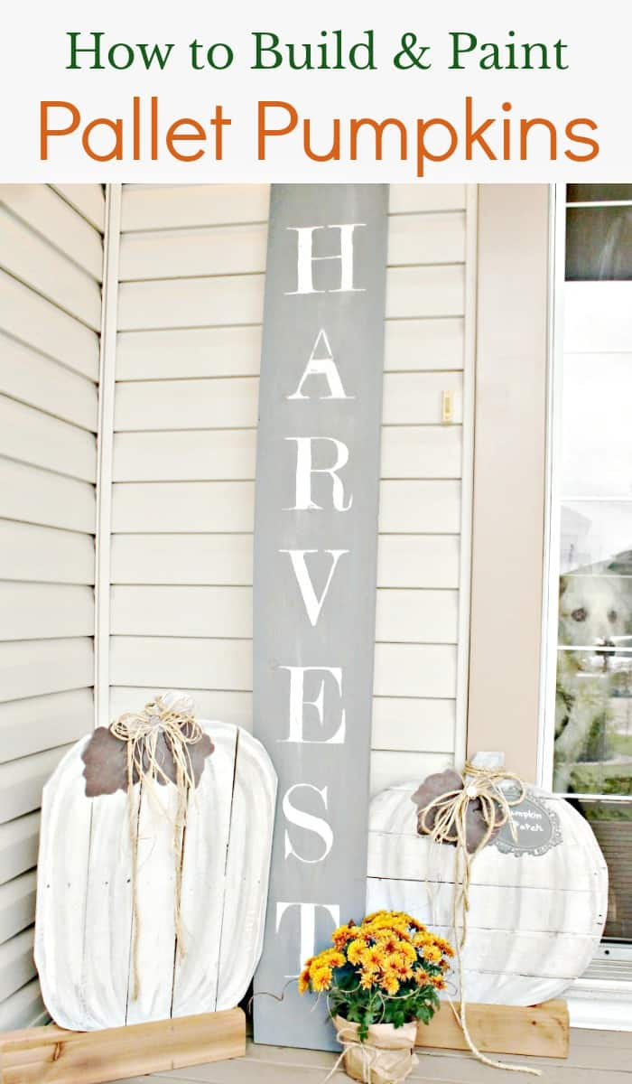 DIY Pallet Pumpkins for an outdoor fall porch. Neutral fall decor, diy fall decor