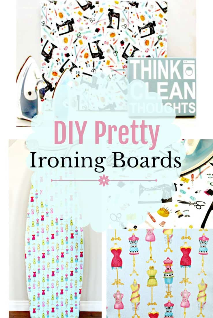 A collage of pretty fabric for a DIY Ironing board cover and making a small ironing board.