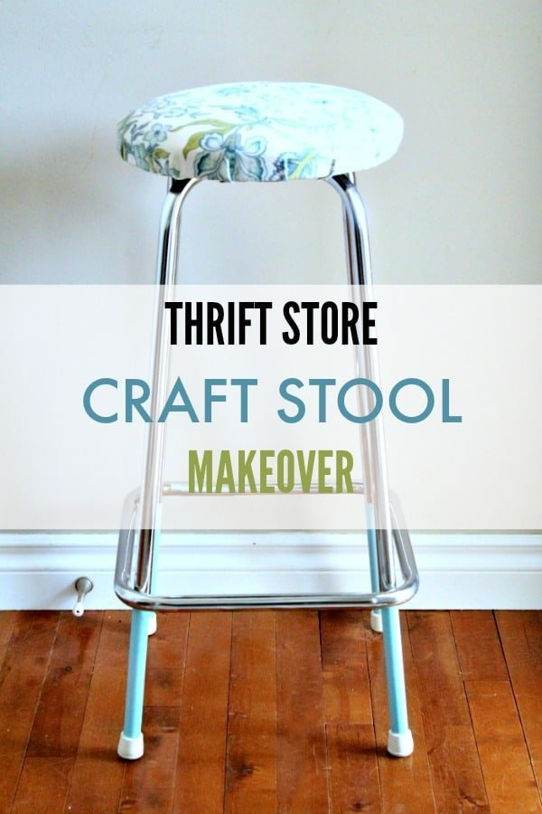 A pretty turquoise metal legged vintage stool makeover for a craft room.