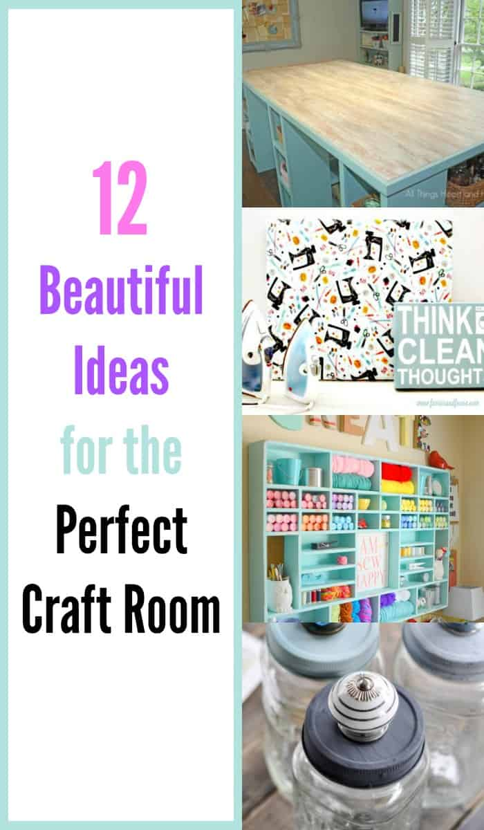 a collage showing different craft room ideas, including Craft room ideas, craft room ideas on a budget, hobby room idea, sewing room idea, craft area ideas,craft room inspiration, home office craft room ideas.