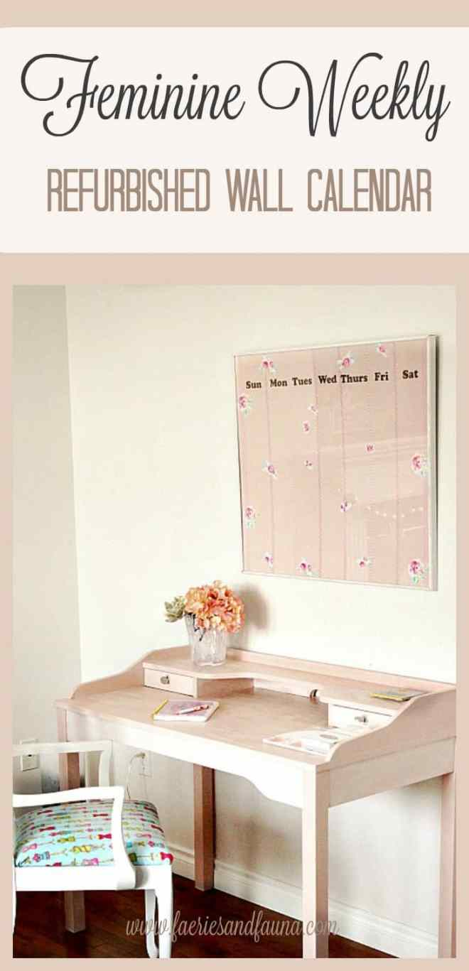 Pretty Wall Calendar, DIY Home Decor, DIY Wall Calendar, Refurbished Frame, Craft Room Artwork,