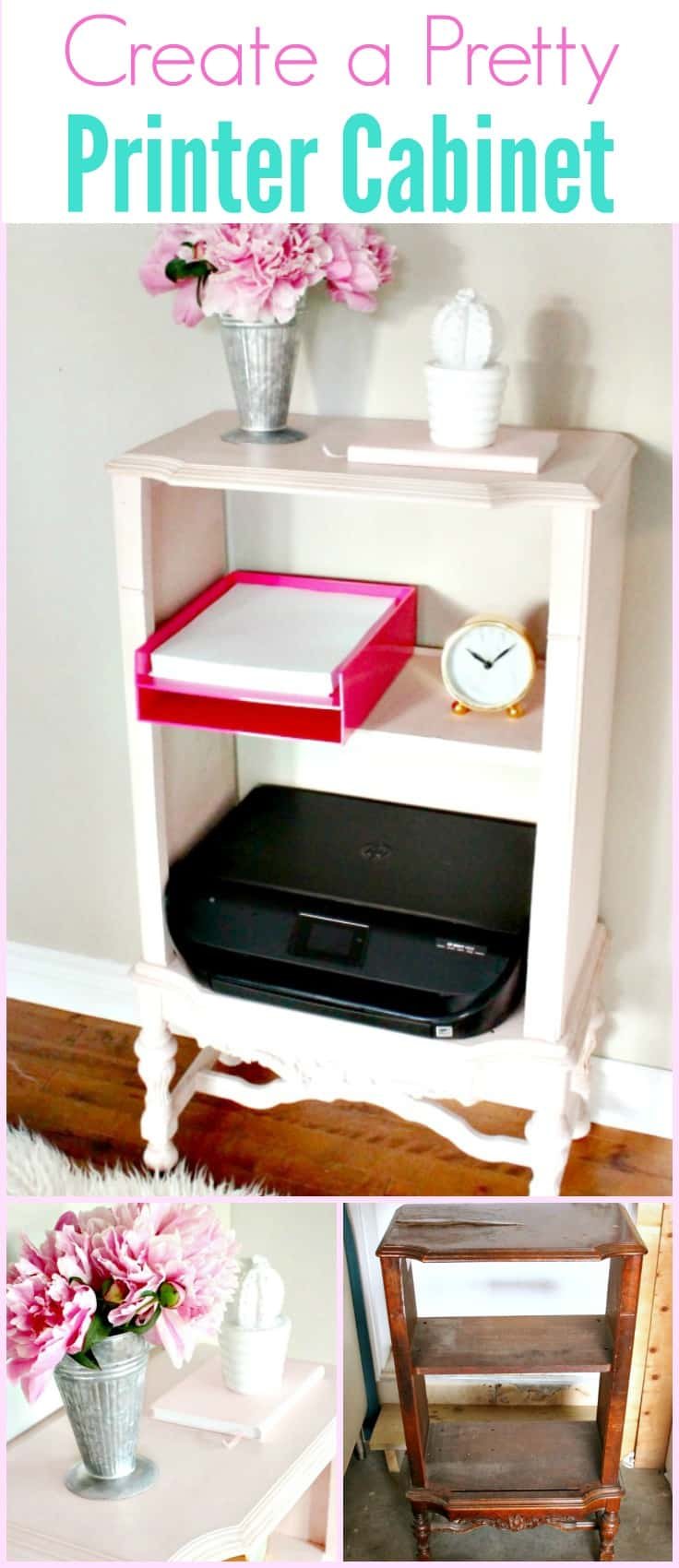 A Home office printer cabinet, made from an upcycled old broken cabinet.