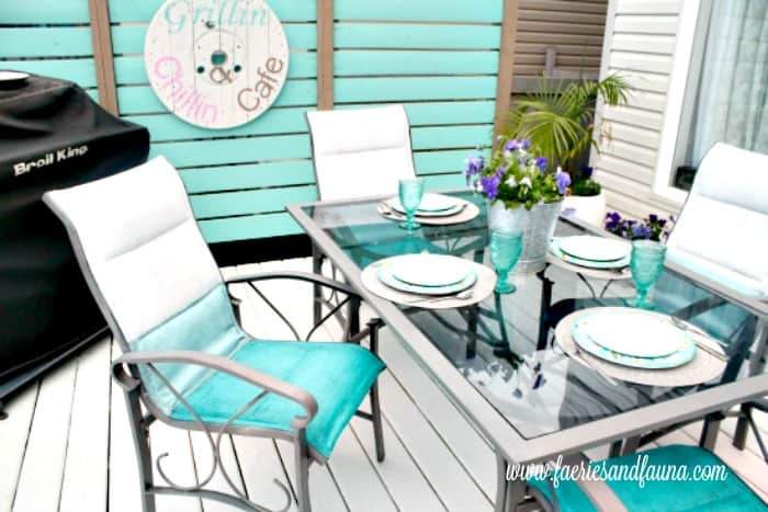turquoise patio chairs lane office ombre chalk paint chair makeover diy furniture with and a pretty table setting for spring