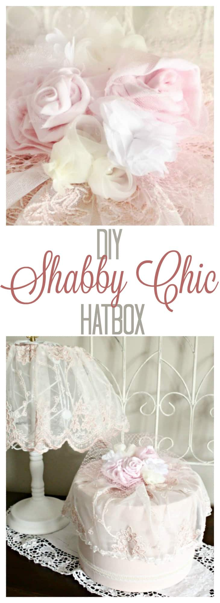 Diy hatbox with vintage shabby chic style for Lampe style shabby chic