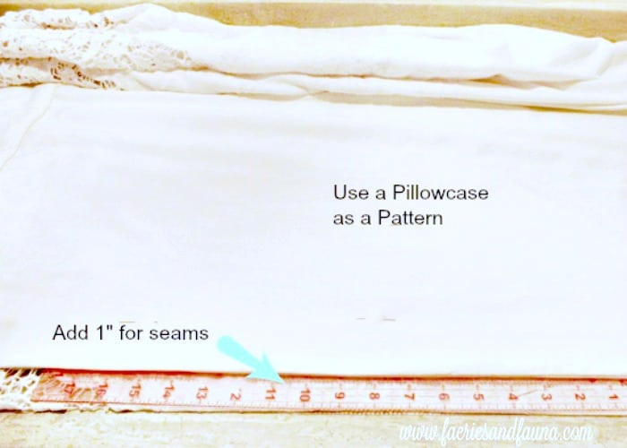 Picture showing the placement of a pattern for a pillowcase with a one inch seam allowance. Homemade pillowcases,sewing pillowcases, easy pillowcase pattern, pillowcase sewing patter, pillowcase ideas, diy pillowcase, lacy pillowcase, luxury pillowcase